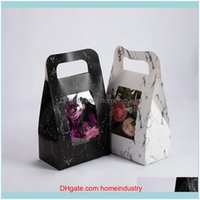 Gift Event Festive Party Supplies Home & Gardengift Wrap 50Pcs Lot Hand-Held Flower Box Marbled Paper Basket Florist Bouquet Packaging Carto