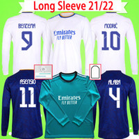 긴 소매 가득 차있는 2021 2022 홈 멀리 홈 멀리 3 그린 넷째 Camiseta 성인 망 21 22 벤제 축구 셔츠 위험 Alaba ISCO Asensio 유니폼