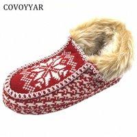 Covoyyar 2017 따뜻한 크리스마스 여성 슬리퍼 새해 겨울 컴포트 홈 신발 빨간색 실내 면화 신발 플러스 사이즈 40 WSL509 G35R #