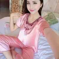 Women's Sleepwear Sexy Lingerie Satin Nightgowns Women Short Sleeve Nighties V-neck Nightdress Nightwear Nightshirt Pijama Mujer