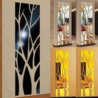 벽 스티커 3D 미러 트리 모양의 자체 접착식 탈착식 아크릴 멀티 컬러 데칼 DIY 홈 거실 침실 TV 배경 장식 LMZP