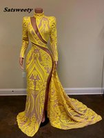 Long Sleeve Sexy Prom Dresses 2021 High Neck Side Slit Yellow Sequin African Black Girls Mermaid Evening Party Gowns