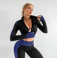 Hot style zipper sports tights seamless long-sleeved quick-drying training running clothes belly button yoga tops