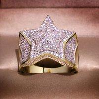 Anillo de Pentagram de estrella de Bling Gold con joyería de moda de Hip Hop de piedra de Zircon para mujer Hombre Anillo de compromiso de boda