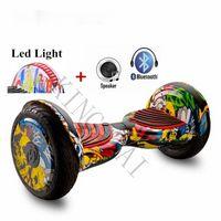 10 인치 호버 보드 LED + 블루투스 + 스피커 2 바퀴 스마트 셀프 밸런싱 스쿠터 전기 스케이트 보드 giroskuter