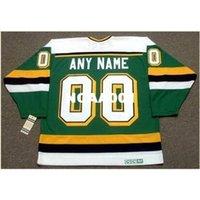 """001 Minnesota Kuzey Yıldızları 1980'lerin CCM Vintage Özelleştirilmiş """"Herhangi bir isim numarası (lar)"""" Hokey forması veya özel herhangi bir isim veya numara Retro Forması"""