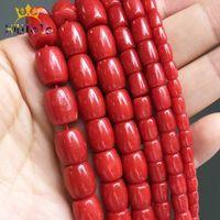 Natürliche Steinperlen Trommelform Rote Korallen Lose Spacer Perlen Für Schmuckherstellung DIY Armband Ohrringe Zubehör 15 Stränge