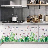 Зеленый кактус кухня гостиная столовая гостиная спальня комната обои самоклеящиеся стены наклейки
