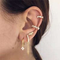 Stud Fashion Single Row Inlaid Zircon Tassel Chain Back Hanging Ear Studs Daily Earring For Women Gifts