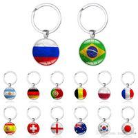 Fahmi Jewelry Keys 2021 Copa del Mundo Fútbol Llavero País Flag Fans Fútbol Cadenas Llaveros Hombres Hebilla Souvenir Cadena de regalo