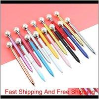 15 unids / lote Pearl Pearl Ballpoint Pen 15 colores Kawaii Queen's Crutch Ballpen para suministros escolares Boligrafos Unisex Pens MX28R 52JSC