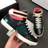 Neue ACE Sneakers bestickte Herrenwohnungen mit rotem und grünen Streifen Frauen Luxus Designer Schuhe High Top Leder Schuhbiene Druckstiefel C16