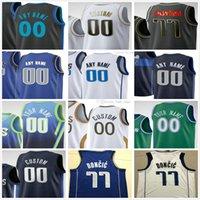 Пользовательские напечатанные Dallas Luka 77 DONCIC KRISTAPS 6 Porzingis Tim 11 Cartaway Jr. Boban 51 Marjanovic Mavericks Мужчины Женщина Дети Молодежный баскетбол Джерси