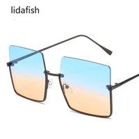 Aviator 선글라스 Lidafish 2021 여성 선글라스 빈티지 레트로 패션 여성 고급 안경 광장 세미 Rimless UV400