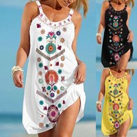 Casual Dresses Women's Sleeveless Dress Party Beach Vacation Tie Dye Print Bodycons Sexy Vest Straps Sundress Vestidos