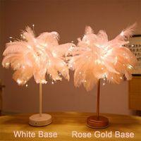 테이블 라이트 LED 램프 깃털 4.5V 원격 제어 장식 책상 조명 핑크 트리 램프 갓 소녀 생일 결혼식 야간