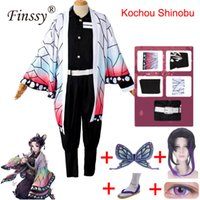 Tema Costume Anime Demone Slayer KOCHOU Shinobu Cosplay Scarpe Parrucca Farfalla Headdress Kimetsu No Yaiba Costume di Halloween