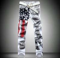 Men's Jeans 38 Plus Size 40 42 White QUANBO Brand Men Fashion Casual Printed Stretch Skinny Denim Jogger Pants