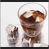 304 roestvrij staal ijsblokje herbruikbare chilling stenen voor whiskywijn Houd uw drankje langer koud metalen ijs whisky rode wijnkoeling QR7HS