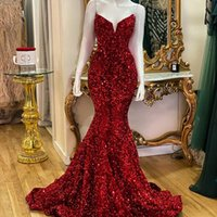 vestido de fiesta boda Red Sequins Evening Dresses Mermaid Sweetheart 2022 Prom Dress for Women Party Wear