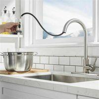 Высокая дуга щеткой вытащить кухонный кран из носика, кухонный смеситель из нержавеющей стали с выдвинутым распылителем JK2103KD