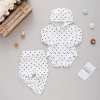Clothing Sets 0-18 M Baby Girl Autumn Clothes Fashion Heart Print Long Sleeve Hooded Romper And Pants Knitted Outfit