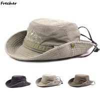 Breite Krempe Hüte gewaschener Baumwolle Sommer Männer Panama Eimer Hut Atmungsaktive Mesh Angelkappe Frauen Sonnencreme Strand Dschungel Klettern