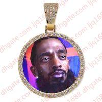 Custom photo round pendant necklaces for men women hip hop luxury designer bling diamond picture pendants friend family jewelry love gift
