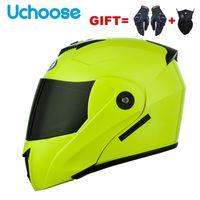 Motorcycle Helmets 2021 2 Gifts Unisex Racing Motobiker Modular Dual Lens Helmet Full Face Safe Flip Up Cascos Para Moto