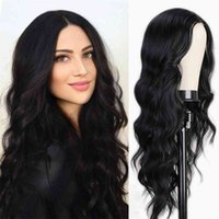 I's a wig Long Body Wave Wig Synthetic Wigs for Black Women Middle Part Brown Red Pink Purple Cosplay Hairs