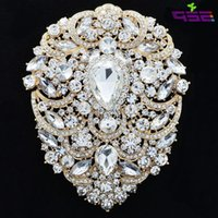 Large Brooch Pins Bridal Wedding Jewelry 4 .9 Inches Rhinestone Crystal Women Jewelry Accessories 4045