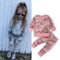 Clothing Sets Baby Girl Solid Stylish Toddler Kids Tracksuit Boys Velvet Tops Sweatshirt Pants Trousers Outfits Autumn Clothes Set 1-6 Y