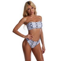 Bikini 2021 Avrupa ve Amerika MS Bölünmüş Baskı Tüp Üst Seksi Beachwear Moda Mayo Göğüs Pad Ile Göğüs Balalanmış Yeni Stil Olmadan