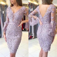 Short Lavender Lace Applique Mother of the Bride Dresses  Suits Long Sleeve V Neckline Wedding Guest Gowns Back Out