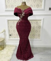 2021 Plus Size Arabic Aso Ebi Burgundy Mermaid Sexy Prom Dresses Deep V-neck Sequined Evening Formal Party Second Reception Bridesmaid Gowns Dress ZJ205