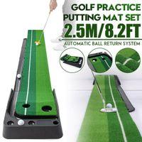 Novo 2.5m Golfe Colocando Mat Tapt Putter Trainer Green Putter Tapete Prática Definir bola Retorno Mini Golf Colocando Green Fairway 201124