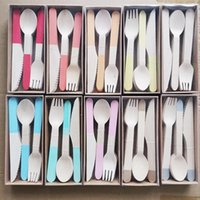 Disposable Dinnerware Children's Tableware Birch Wooden Cutlery Boxed Western Cake Ice Cream Dessert Picnic Outdoor Knives Forks Spoon