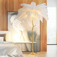 미국 LED 플로어 램프 거실 실내 새로운 패션 타조 깃털 데코 등기구 구리 수지 삼자 서있는 램프