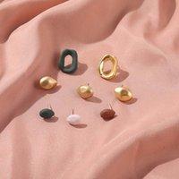 Stud Round Gold Metal Earrings Drop Square Geometric Retro Ear Studs Korean Fashion Y2K Trend Women Jewelry Party Gift Custom