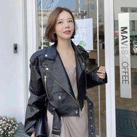 Women's Fur & Faux winter jacket retro high street leather female pu turtleneck turned down black short loose VTFB
