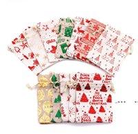 Bronzing Weihnachten Kordelzug Tasche Beutel Geschenk Wrapper 10 * 14 cm Metallic Candy Treat Taschen 13 * 18 cm Birthday Festival Party Favor FWB10352