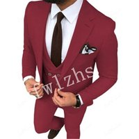 Handsome One Button Groomsmen Notch Lapel Groom Tuxedos Mens Wedding Dress Man Jacket Blazer Prom Dinner suits (Jacket+Pants+Tie+Vest) W727