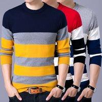 2021 YDTomm Pullover Мужской Новый Мода Красный Черный Полосатый Свитер Весна Осень О-Шеи Мужчины Шерстяные Свитера Slimfit Рубашка B68Q