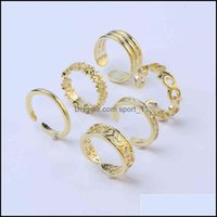 Rings Jewelry6Pcs Adjustable Toe For Women Girls Lower Knot Simple Knuckle Stackable Open Tail Ring Band Hawaiian Foot Jewelry Drop Delivery