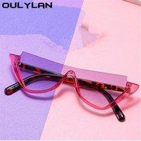 Occhiali da sole Omblasses Semi-senza montatura per le donne Uomo Moda Mezza cornice Sun Glasss Femminile Classico Eyeglasses trasparente Specchio UV400
