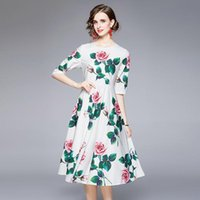 Party Dresses Fashion Elegant Floral Print Runway Summer Dress Women White Half Sleeve Sicilian Roses Pleated Midi Long Vestidos Female