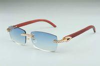 Yeni B-3524012-12 Büyük Elmas Güneş Gözlüğü, Ahşap Gözlük, Kare Parça Gözlük Moda erkek ve kadın Sınırsız Güneş Gözlüğü