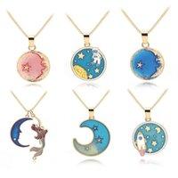 Anhänger Halsketten Bunte Cartoon Ozean Seestern Halbmond Half Moon Geometrie Runde Astronauten Weltraum Sun Sterne Sky Halskette Schmuck