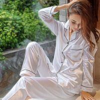 Pajamas Summer Long Sleeve Pijamas Women Sleepwear Sexy Nightwear 2pc Silk Satin Pyjamas Sets For Woman Plus Size 5xl