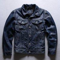 Casaco casual para homem jaqueta de couro azul jaqueta de couro genuíno casacos motocicleta casacos de motocicleta hops plus size M-4XL